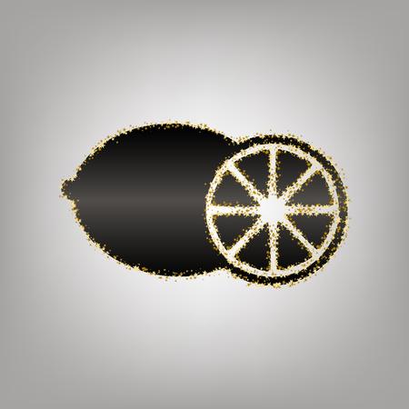 Fruits lemon sign. Vector. Blackish icon with golden stars at grayish background. Illustration