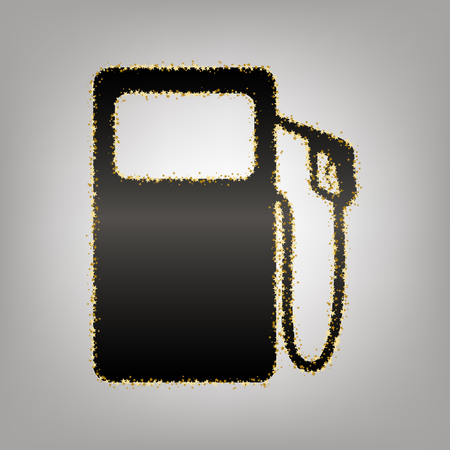 Gas pump sign. Vector. Blackish icon with golden stars at grayish background.