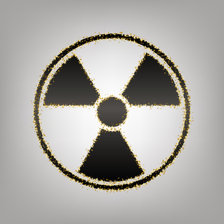 Radiation Round sign. Vector. Blackish icon with golden stars at grayish background.