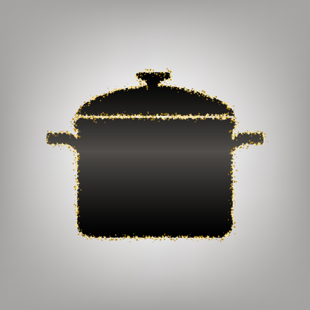 Cooking pan sign. Vector. Blackish icon with golden stars at grayish background.