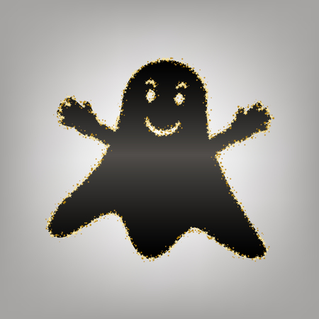 Ghost sign. Vector. Blackish icon with golden stars at grayish background. 向量圖像