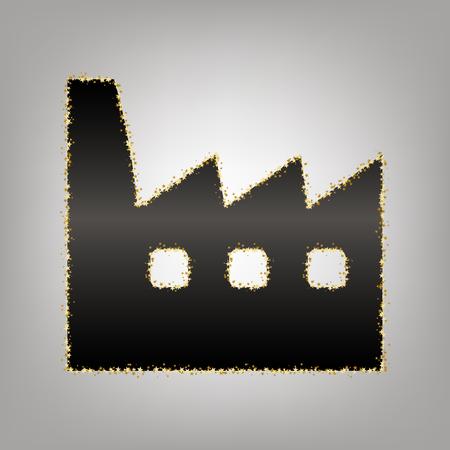 Factory sign illustration. Vector. Blackish icon with golden stars at grayish background. Illustration