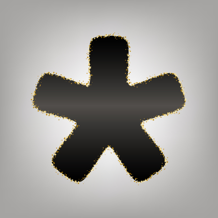 Asterisk star sign. Vector. Blackish icon with golden stars at grayish background.