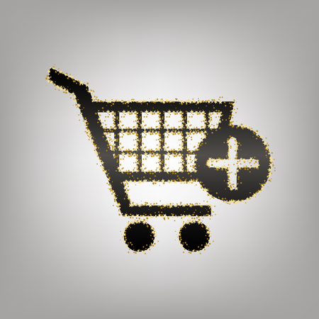 Shopping Cart with add Mark sign. Vector. Blackish icon with golden stars at grayish background.