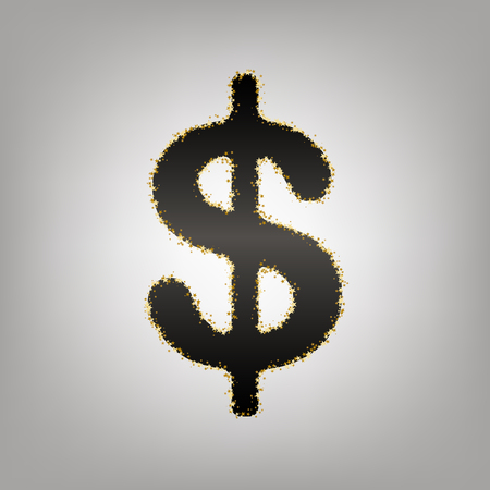 Dollars sign illustration. USD currency symbol. Money label. Vector. Blackish icon with golden stars at grayish background. Illusztráció