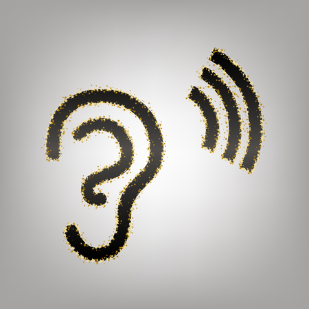 Human anatomy. Ear sign with soundwave. Vector. Blackish icon with golden stars at grayish background.