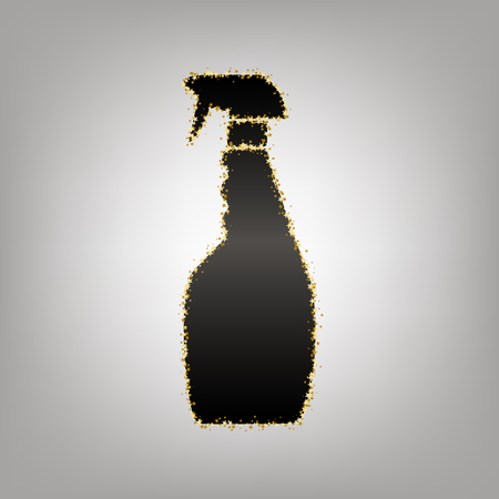 Plastic bottle for cleaning. Vector. Blackish icon with golden stars at grayish background. Иллюстрация