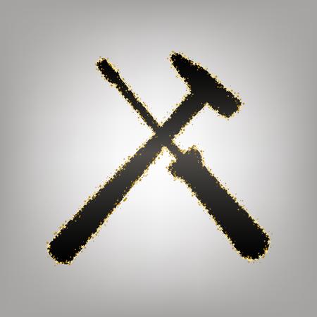 Tools sign illustration. Vector. Blackish icon with golden stars at grayish background. Çizim