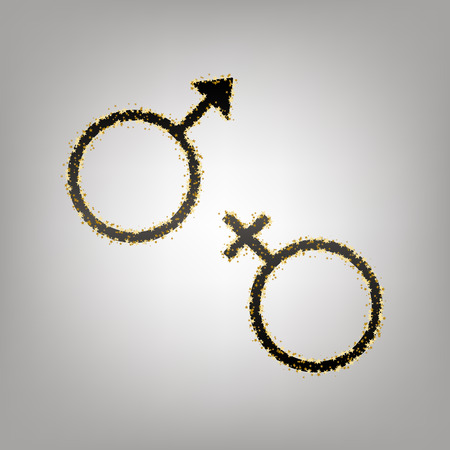 Sex symbol sign. Vector. Blackish icon with golden stars at grayish background. Imagens - 106533273