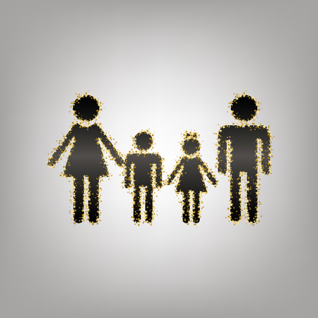 Family sign. Vector. Blackish icon with golden stars at grayish background.