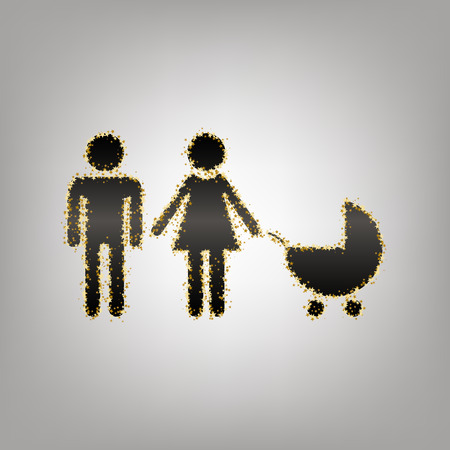 Family sign illustration. Vector. Blackish icon with golden stars at grayish background.