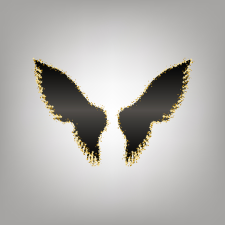 Wings sign illustration. Vector. Blackish icon with golden stars at grayish background.