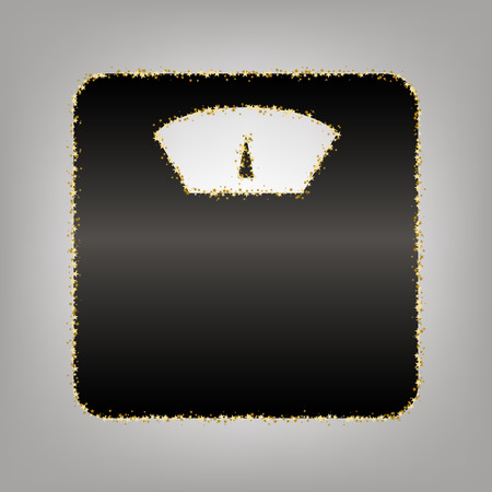 Bathroom scale sign. Vector. Blackish icon with golden stars at grayish background.