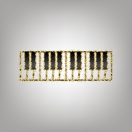 Piano Keyboard sign. Vector. Blackish icon with golden stars at grayish background.
