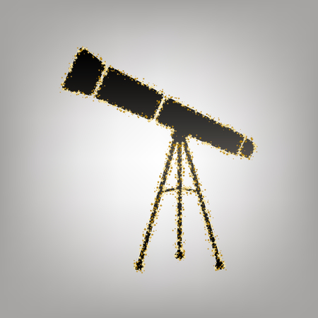 Telescope simple sign. Vector. Blackish icon with golden stars at grayish background.