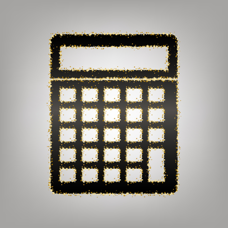 Calculator simple sign. Vector. Blackish icon with golden stars at grayish background.