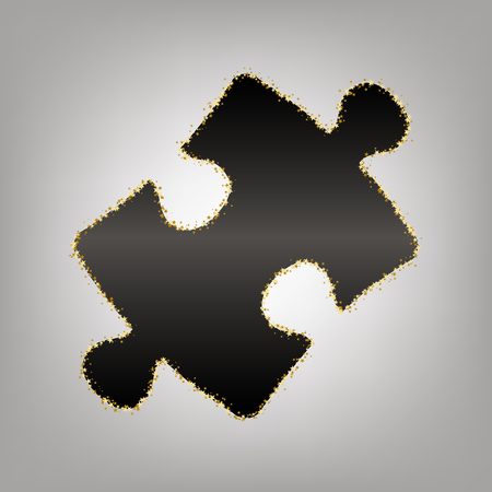 Puzzle piece sign. Vector. Blackish icon with golden stars at grayish background.
