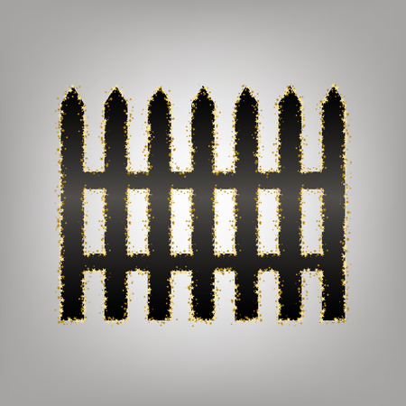 Fence simple sign. Vector. Blackish icon with golden stars at grayish background. Illustration