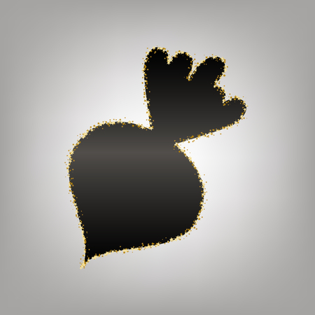 Beet simple sign. Vector. Blackish icon with golden stars at grayish background.