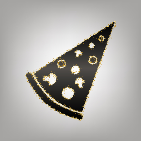 Pizza simple sign. Vector. Blackish icon with golden stars at grayish background.