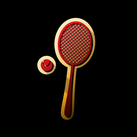 Tennis racquet with ball sign. Vector. Red icon with small black and limitless shadows at golden sticker on black background.