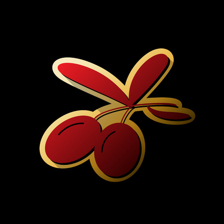 Olives sign illustration. Vector. Red icon with small black and limitless shadows at golden sticker on black background.