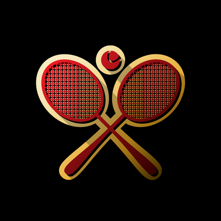 Two tennis racket with ball sign. Vector. Red icon with small black and limitless shadows at golden sticker on black background.