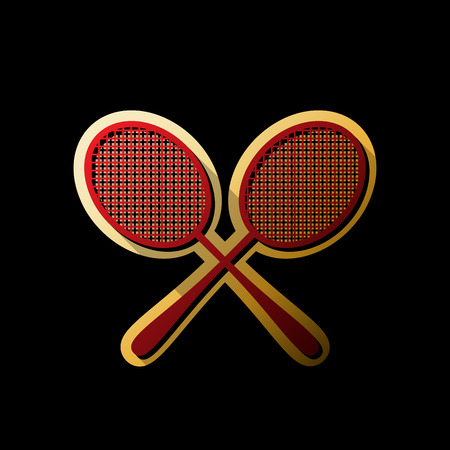 Two tennis racket sign. Vector. Red icon with small black and limitless shadows at golden sticker on black background. Illustration
