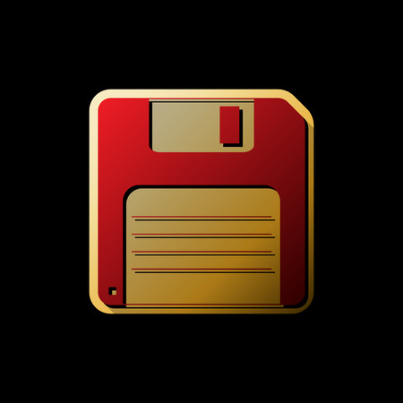 Floppy disk sign. Vector. Red icon with small black and limitless shadows at golden sticker on black background.