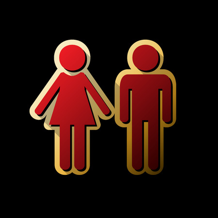 Male and female sign. Vector. Red icon with small black and limi Vettoriali