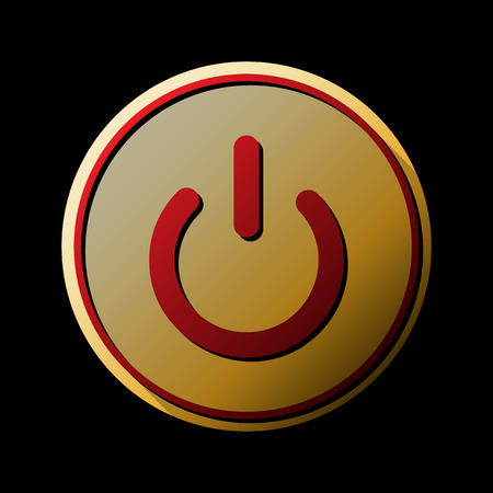 On Off switch sign. Vector. Red icon with small black and limitless shadows at golden sticker on black background. 일러스트