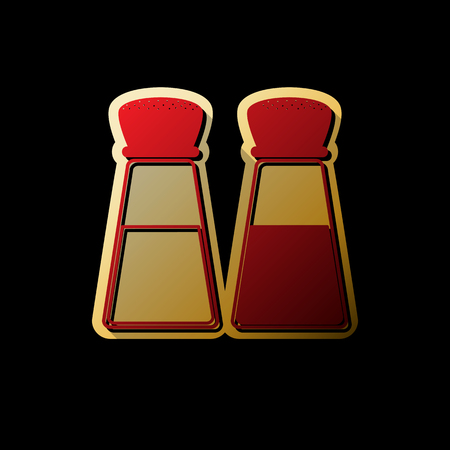 Salt and pepper sign. Vector. Red icon with small black and limitless shadows at golden sticker on black background. 일러스트