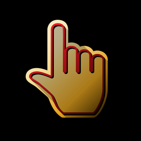 Hand sign illustration. Vector. Red icon with small black and limitless shadows at golden sticker on black background.