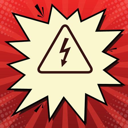 High voltage danger sign. Vector. Dark red icon in lemon chiffon Vectores