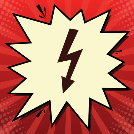 High voltage danger sign. Vector. Dark red icon in lemon chiffon shutter bubble at red popart background with rays. Illustration