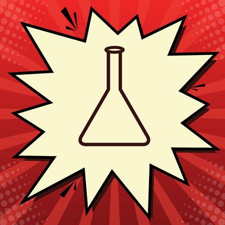 Conical Flask sign. Laboratory glass sign. Vector. Dark red icon in lemon chiffon shutter bubble at red popart background with rays.
