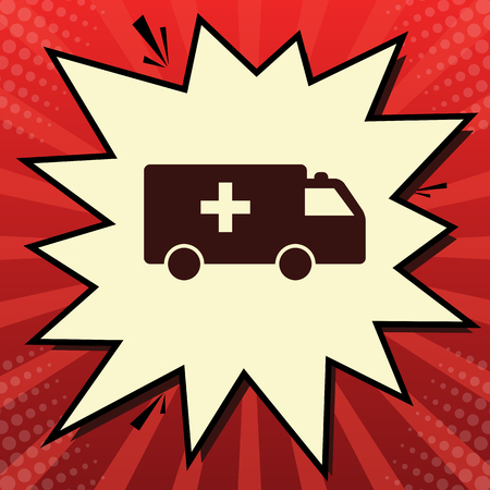 Ambulance sign illustration. Vector. Dark red icon in lemon chiffon shutter bubble at red popart background with rays.