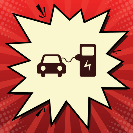 Electric car battery charging sign. Vector. Dark red icon in lemon chiffon shutter bubble at red popart background with rays. Illustration