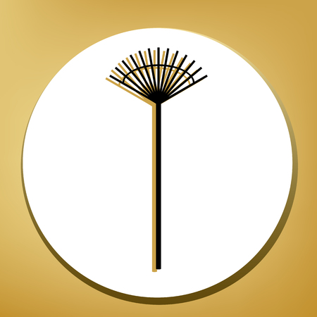 Lawn rake sign. Vector. Black icon with light brown shadow in white circle with shaped ring at golden background.