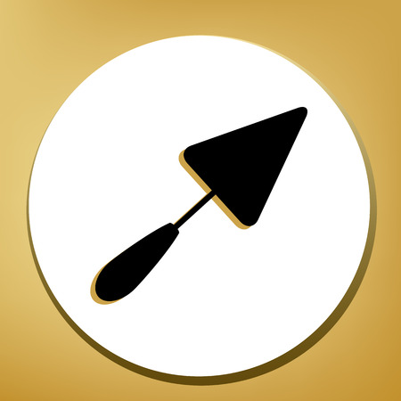 Trowel sign. Vector. Black icon with light brown shadow in white circle with shaped ring at golden background.