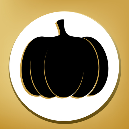 Pumpkin sign. Vector. Black icon with light brown shadow in white circle with shaped ring at golden background.
