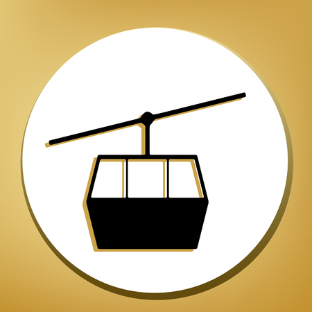 Funicular, Cable car sign. Vector. Black icon with light brown shadow in white circle with shaped ring at golden background.