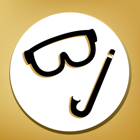 Diving mask sign. Vector. Black icon with light brown shadow in white circle with shaped ring at golden background.