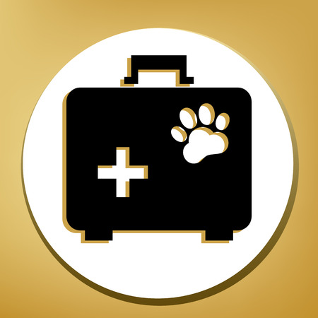 Pet shop sign illustration. Vector. Black icon with light brown shadow in white circle with shaped ring at golden background.