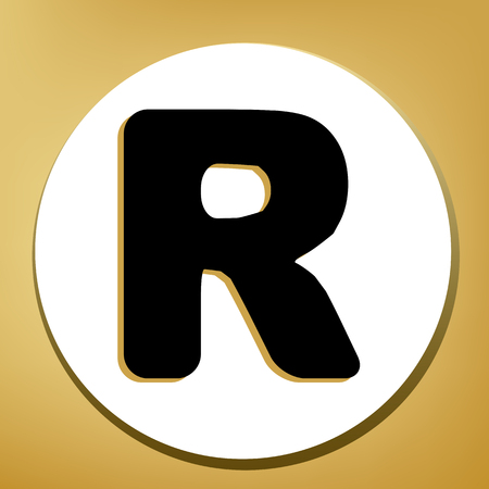 Letter R sign design template element. Vector. Black icon with light brown shadow in white circle with shaped ring at golden background. Ilustração