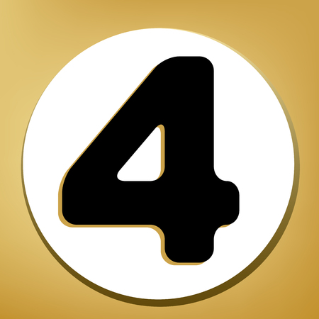 Number 4 sign design template element. Vector. Black icon with light brown shadow in white circle with shaped ring at golden background.