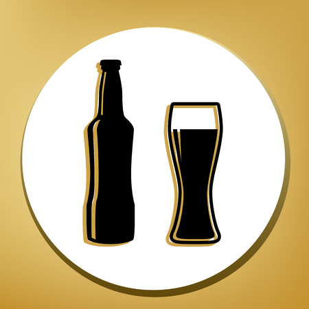 Beer bottle sign. Vector. Black icon with light brown shadow in white circle with shaped ring at golden background.