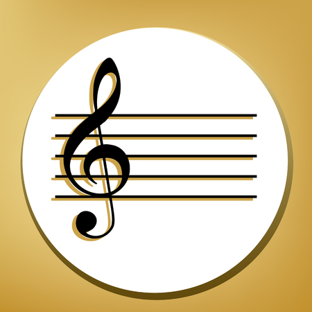 Music violin clef sign. G-clef. Vector. Black icon with light brown shadow in white circle with shaped ring at golden background. Illustration.