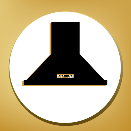 Exhaust hood. Kitchen ventilation sign. Vector. Black icon with light brown shadow in white circle with shaped ring at golden background.