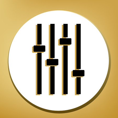 Adjustment music line sign. Vector. Black icon with light brown shadow in white circle with shaped ring at golden background.